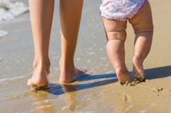 Хождение по песку при плосковальгусной деформации стопы